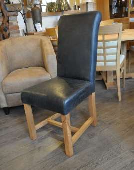Leather Rollback Dining Chair